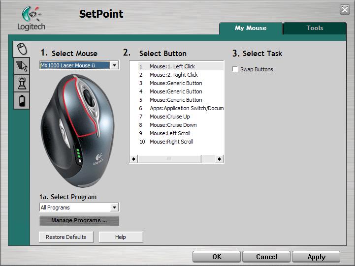 Enabling all options on Logitech mice using uberOptions and SetPoint