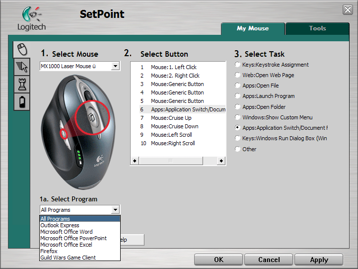 Enabling all options on Logitech mice using uberOptions and