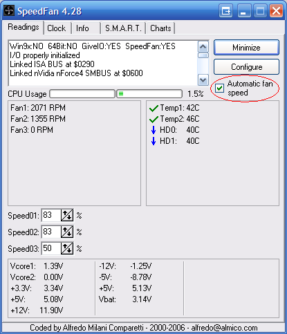 Main SpeedFan window
